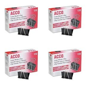 """ACCO 48 Large Binder Clips 2"""" W,  1 1/16"""" capacity"""